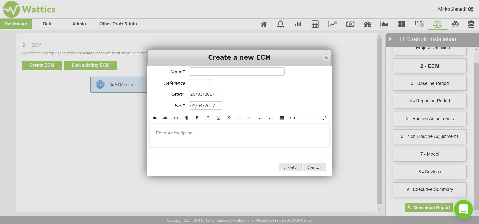 Create a new ECM dialog box
